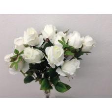 """Roos, struik, 18.5"""", 10 bloemen, wit"""