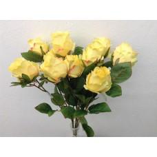 """Roos, struik, 18.5"""", 10 bloemen, zachtgeel"""