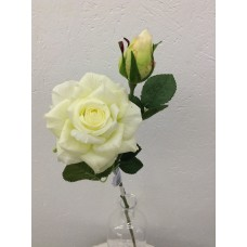 Roos, real touch, 37 cm, 1 bloem, 1 knop, cream