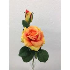 Roos, real touch, 37 cm, 1 bloem, 1 knop, oranje