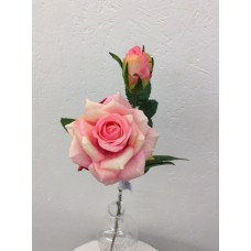 Roos, real touch, 37 cm, 1 bloem, 1 knop, rose
