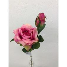 Roos, real touch, 37 cm, 1 bloem, 1 knop, purple-cream