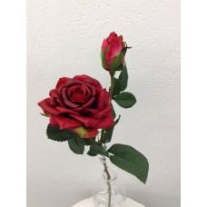 Roos, real touch, 37 cm, 1 bloem, 1 knop, rood