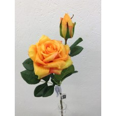 Roos, real touch, 37 cm, 1 bloem, 1 knop, donkergeel