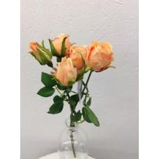 Roos, spray, 39 cm, 5 bloemen, lichtoranje