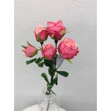 Roos, spray, 39 cm, 5 bloemen, roze