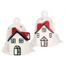Theelichthouder 'Glocke mit Haus' - 11 cm - set van 2
