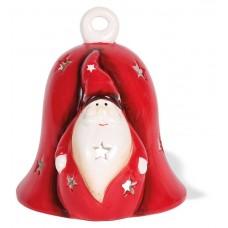 Theelichthouder 'Glocke mit Weihnachtsmann' - 11 cm