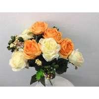 Roos/Bes gemixd, struik, 50 cm, 8 bloemen, 4 bessentrossen, oranje-zachtgeel