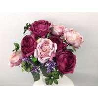 Roos/Bes gemixd, struik, 50 cm, 8 bloemen, 4 bessentrossen, roze/donkerroze