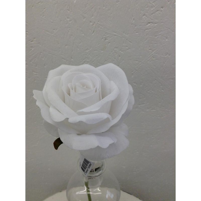 Rose iced foam flower 10 cm pick 20 cm 1 rose white mightylinksfo